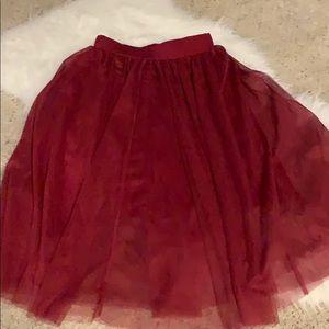 Burgundy Tulle Knee Length Skirt Size Medium